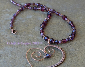 Wire Wrapped Purple Heart Necklace