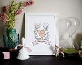 Baby girl nursery art print | Deer print | She is doe cute 8.5x11""