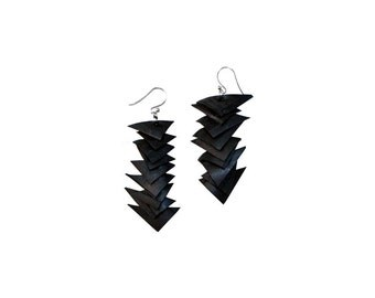 Black Rubber earrings, Recycled Bicycle Tire Jewelry
