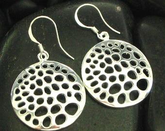 Sterling Silver .925 Honeycomb Cut Through Drop Earrings