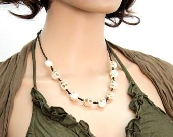 Necklace Handmade White Skulls Beaded in Thailand FAIR Trade Wax Cotton String (N409-W)