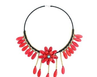 Deluxe Red Flora Necklace Handmade Stones & Brass Beads Thailand Jewelry  (N411-R)