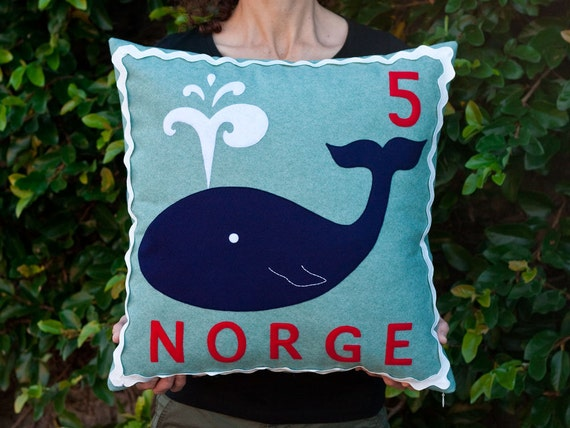 Norwegian whale stamp cushion cover