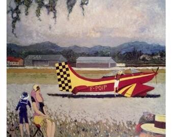 red plane vintage poster