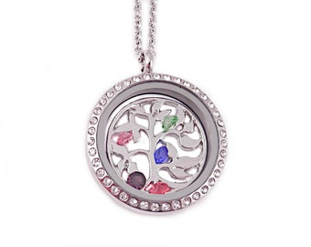 Personalized Family Tree Locket - Birthstone Necklace Locket - Stainless Steel - Family Tree with Birthstones - Tree Locket - Gift For Mom