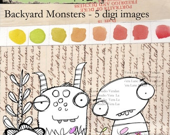 Backyard Monsters-- whimsical and quirky monster buddies five digi image bundle in png and jpg files