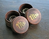 Wedding ring box set. Tiny round ring boxes, ring bearer accessory, ring warming. Pair of pine ring boxes with Mr and Mrs design in gold.