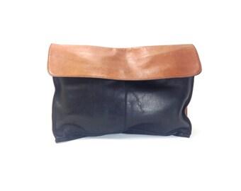 Oversized Leather Clutch - Large Leather Handbag - Leather Portfolio Briefcase - Black Leather Bag
