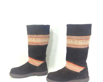 Tribal Leather Boots 7 - Brown Leather Work Boots 7 - Leather Hippie Boots 7 - Tribal Boots - Boho Leather Boots 7 - Knee High Boots 7