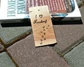 Upcycled Wood Bookmark - Maple Bookmark - Hardwood Bookmark Burnt with I Love Reading and Animal Prints