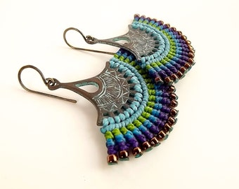 Macrame Earrings, Fan Earrings, Patina Earrings, Peacock Earrings, Blue Green Purple Earrings