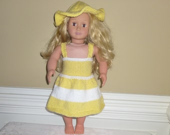 "Summer Hand Knit Dolls Dress with Hat/American Girl or 18"" Doll"