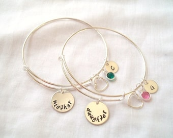 Personalized Mother Daughter Bangle Set ~ Personalized, Expandable Bangle, Hand Stamped, Mother/Daughter, Mother's Day, Love ~ MADE TO ORDER