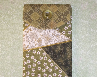 Olive Green Floral and Swirls E-Reader Padded Case