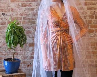Pillbox Wedding Veil - Long Veil - 1960s - 2 Layers - Floor Length