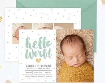 Birth Announcement Template, Birth Announcement Template Boy, Birth Announcement Girl, Birth Announcement Card Template Photoshop - BA182