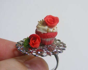 SALE Food Jewelry Cupcake Ring, Roses Ring, Cupcake Jewelry, Red Velvet Cupcake, Miniature Food Ring, Cupcake Charm, Mini Food Jewellery