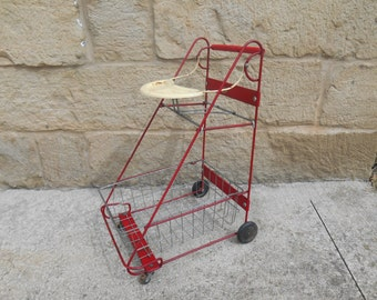 Vintage Children's Amsco Shopping Cart Red and Metal Removeable Wire Basket Kid's Toys Mid Century Nursery Decor Teddy Bear Doll Display