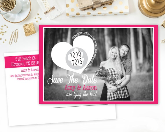 100 4x6 Custom Scratch off Postcard Style Save The Dates