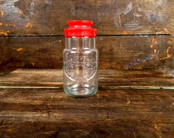Vintage Anchor Hocking 1776 Liberty Bell/stars patriotic clear glass jar/commemorative red top canister/storage container