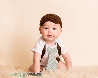 Baby Boy Tie One Piece Bodysuit with Suspenders and Crochet Hat, Plaid, Blue, Brown, Photo Prop, Birthday Outfit, Dapper Baby Boy Clothing