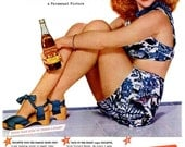 1945 Paulette Goddard Royal Crown Cola Advertisement Old Hollywood Movie Poster Duffy's Tavern Rockabilly Pin Up Wall Art Decor Retro Print