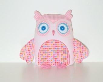 Nursery Owl Pillow Cover, Custom Owl, Pink and Aqua Blue, Rainbow Accent Pillow