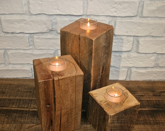 Reclaimed Oak Votive Candle Holder