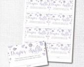 "instant digital download: lavender and silver ""glitter"" sprinkle diaper raffle insert card"