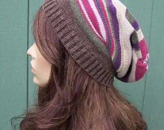 HANDMADE SLOUCHY BEANIE recycled sweater hat eco upcycled slouch beanie Bohemian hippie Boho multi colored striped beanie women