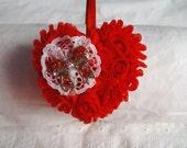 Headband - Red Headband - Heart Headband - Valentine Headband - Rosette Headband - Chiffon & Satin Headband - Bling Headband - Boutique Hb