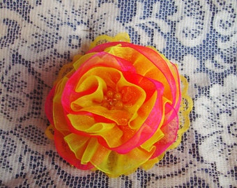 Flower Ponytail Holder - Flower Hair Tie - Organza & Lace Ponytail Hair Tie - Bright Ponytail Holder - Large Hair Tie - Boutique Ponytail