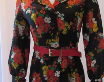1960s FLORAL DRESS with belt black red yellow retro vintage clothing