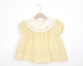 Vintage Baby Dress in Pastel Yellow 18 months