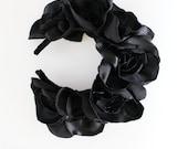 BLACK ROSE / Fabric flower kokoshnik / floral crown - Ready to Ship