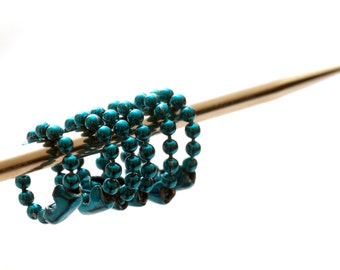 Small Teal Ball Chain Knitting Stitch Markers