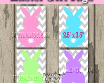 Bunny Tags Easter Tags Easter Gift Favor Tags  Set of 8 Instant Download Print at Home