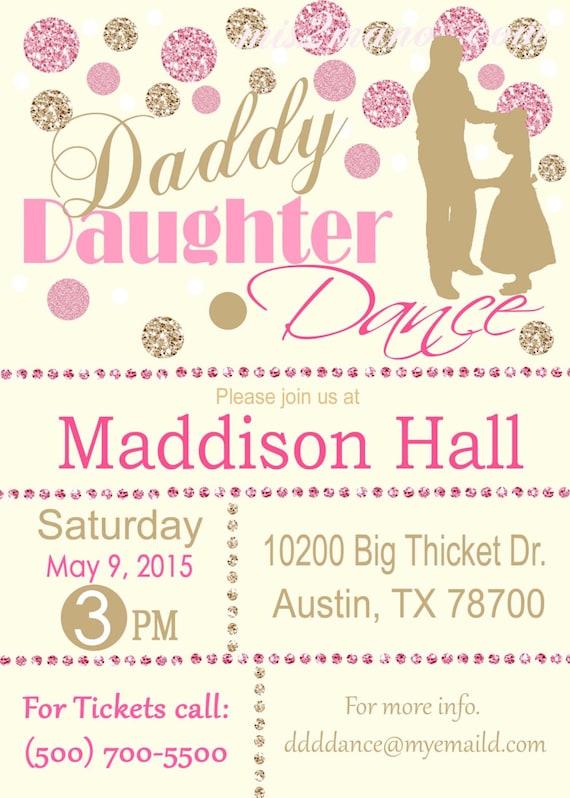 Daddy Daughter Dance Celebration Glitter and Gold Invitation