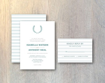 Modern Wreath Stripes Wedding Invitation & RSVP Card - Nature Style - Printable DIY