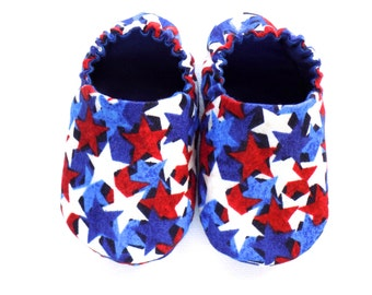 July 4th Baby Boy Shoes, 0-6 mos. Baby Booties with Stars, Soft Sole Shoes, Crib Shoes, Independence Day Baby Gift, Red White and Blue