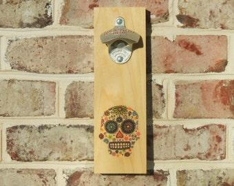 Dia de los Muertos Bottle opener, Wall Mounted, Handmade with StarrX opener