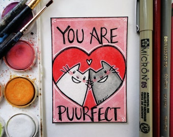 Original Watercolor ACEO You Are Puurfect Cat Couple Heart Cute Valentine Art Card
