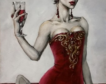 """Salud (Vampire Woman) - Print of Original Painting, matted to 11"""" x 14"""""""