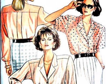 Misses 80's Does 40's Loose-Fitting Blouse Sewing Pattern Vintage 1980's New Look 6316 Size 8 - 18