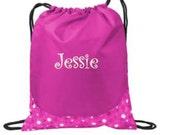 Personalized Bag, Drawstring Bag, Cinch Backpack, Drawstring Backpack, Flower Girl Gift, Ring Bearer Bag, Gymnastics Bag, Beach Bag, Toy Bag
