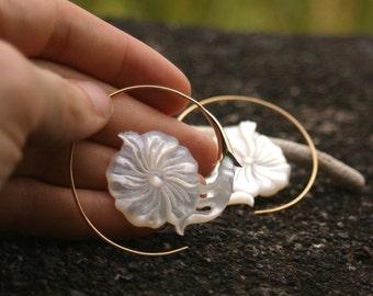Mother of Pearl Earrings - flower earrings - gold tone earrings - hibiscus hoop