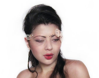 Rose Masquerade Mask, Gemstones Tulle Mask, Lace Face Mask, Bridal Flower Headpiece