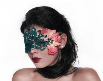 Turquoise Mask, Silk Flowers Fascinator, Gemstones Lace Masquerade Mask