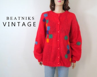 Vintage 80's Sweater 80's Cardigan Mohair Sweater Wool Sweater Geometric Boho Sweater Slouchy Sweater Oversized Sweater Small Medium Large F