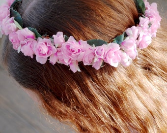 Flower crown, pink, rose buds